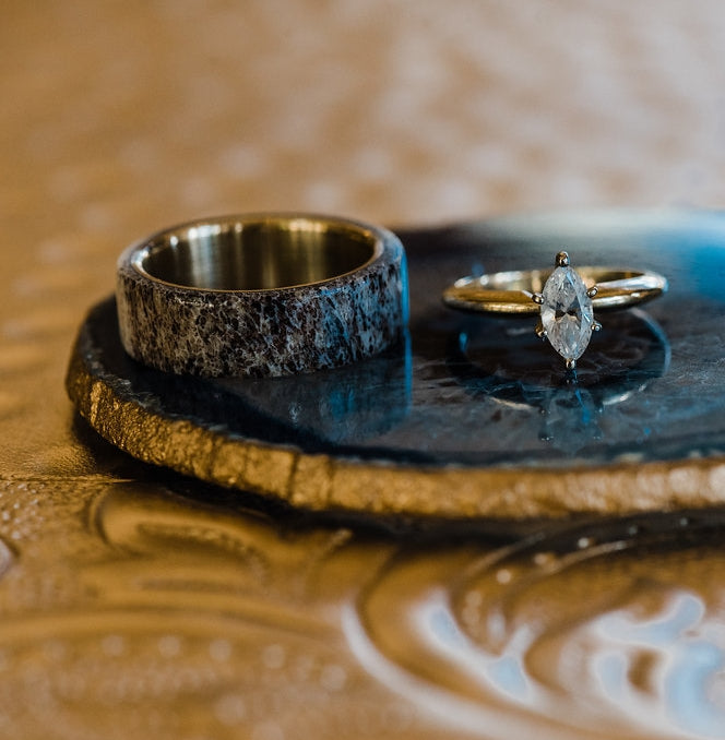 ANTLER OVERLAY WEDDING BAND (available in titanium, silver, black zirconium) - Staghead Designs - Antler Rings By Staghead Designs