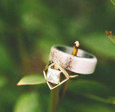 ANTLER OVERLAY WEDDING BAND (available in titanium, silver, black zirconium & 14K white, rose or yellow gold) -  Custom Rings Handcrafted By Staghead Designs