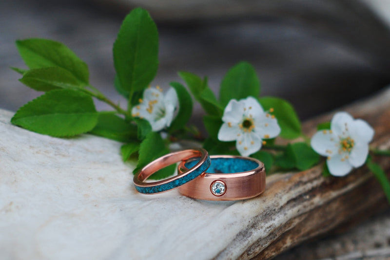 FIRE-TREATED BLACK ZIRCONIUM & TURQUOISE STACKING WEDDING BAND (available in silver, black zirconium, damascus steel & 14K rose, yellow, or white gold) -  Custom Rings Handcrafted By Staghead Designs