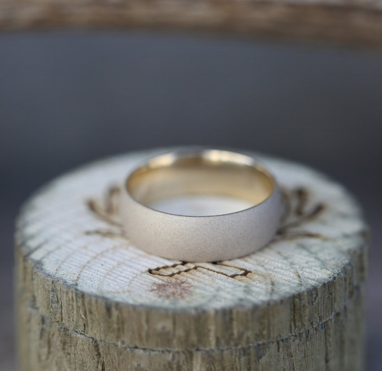 14K WEDDING BAND WITH BRUSHED FINISH - Staghead Designs - Antler Rings By Staghead Designs