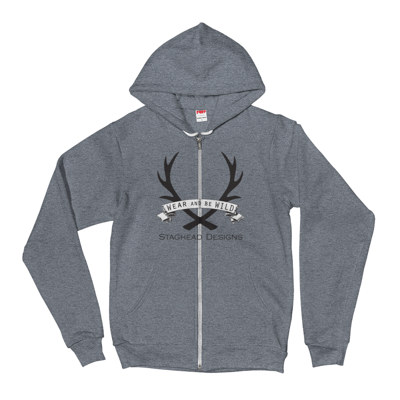 HEATHER GREY ZIP HOODIE - FULL LOGO - Staghead Designs - Antler Rings By Staghead Designs