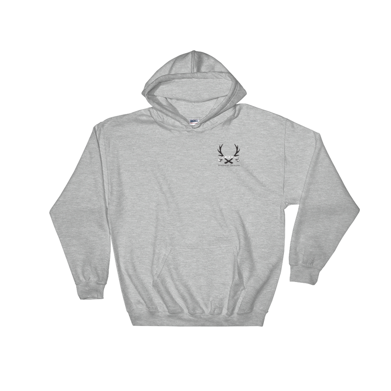 HEATHER GREY HOODIE - OFFSET LOGO - Staghead Designs - Antler Rings By Staghead Designs