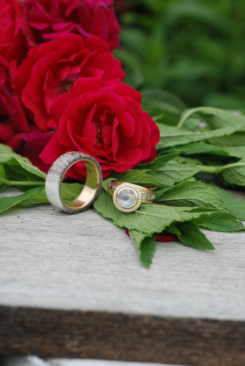 """TERRA"" IN MOONSTONE, 14K GOLD & DIAMOND HALO (available in 14K rose, white, or yellow gold) - Staghead Designs - Antler Rings By Staghead Designs"