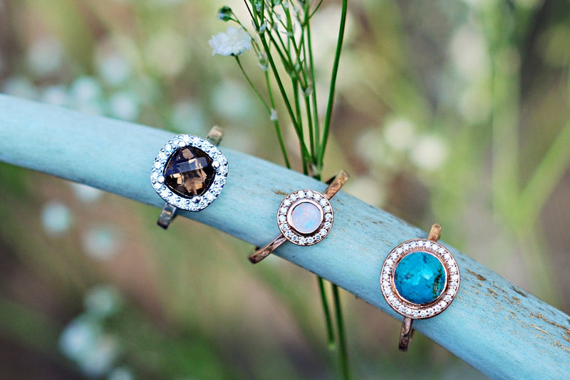 """TERRA"" IN 14K GOLD WITH OPAL AND DIAMOND HALO (available in 14K rose, white & yellow gold) -  Custom Rings Handcrafted By Staghead Designs"