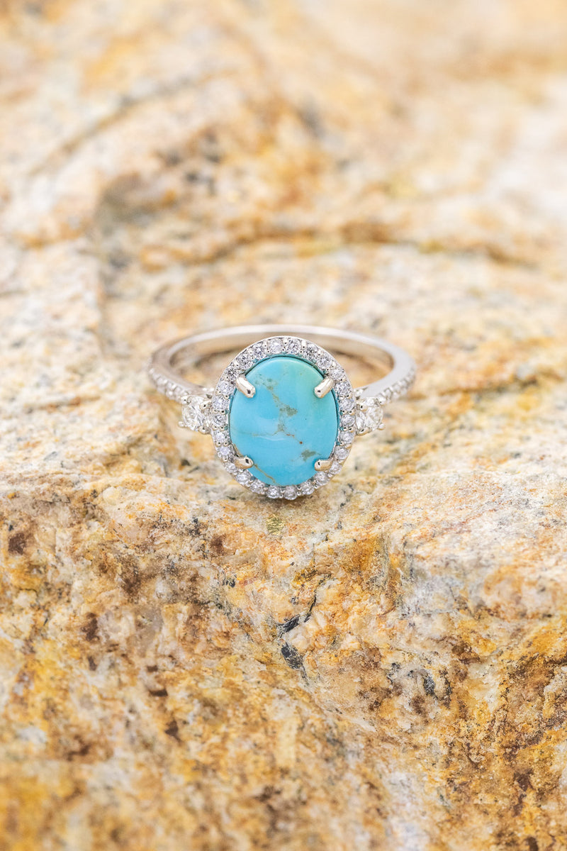 """KB"" BRIDAL SUITE OVAL TURQUOISE ENGAGEMENT RING WITH DIAMOND ACCENTS & TRACER (available in 14K rose, white, or yellow gold)"