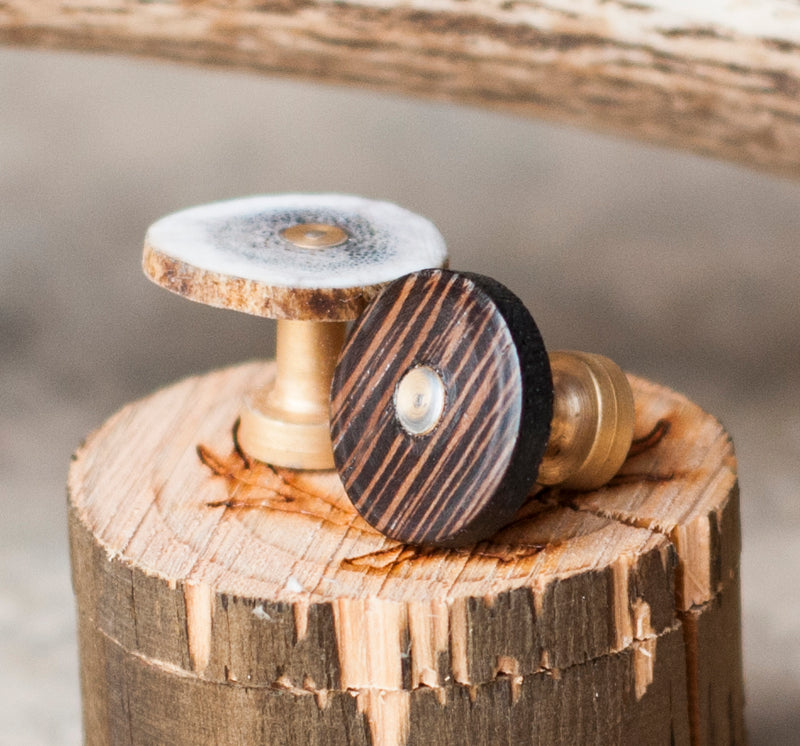 WENGE WOOD CUFFLINKS W/ GOLD PLATED BASES (this listing is for two wenge wood cufflinks) - Staghead Designs - Antler Rings By Staghead Designs