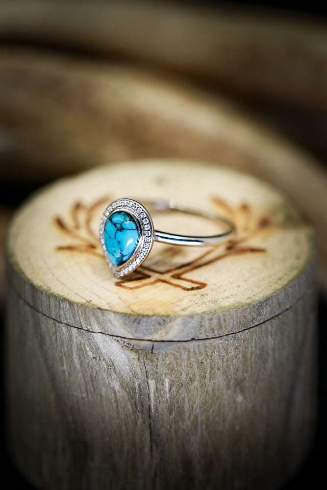 "14K GOLD ""TERRA"" IN PEAR SHAPED TURQUOISE WITH DIAMOND HALO (available in 14K white, yellow, or rose gold) - Staghead Designs - Antler Rings By Staghead Designs"