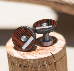 WENGE WOOD TOPPED CUFFLINKS W/ MOTHER OF PEARL INLAYS (available w/ a 24k gold plated base) -  Custom Rings Handcrafted By Staghead Designs