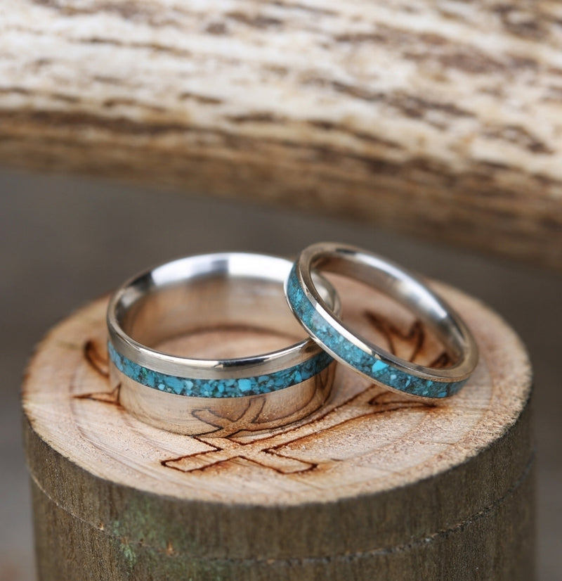 """VERTIGO"" IN 14K GOLD AND TURQUOISE (available in 14K white, rose, or yellow gold) - Staghead Designs - Antler Rings By Staghead Designs"