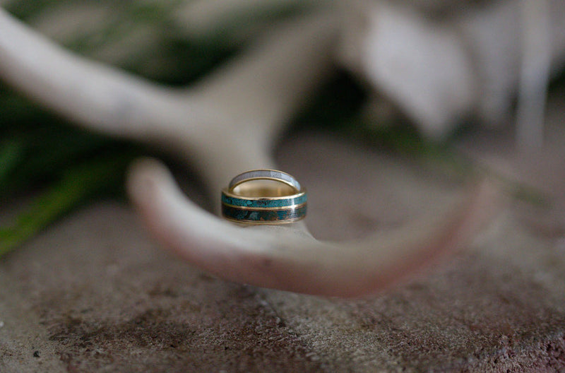 MOTHER OF PEARL WEDDING BAND - TITANIUM STACKING RING (available in titanium, silver, black zirconium, damascus steel & 14K white, rose or yellow gold) - Staghead Designs - Antler Rings By Staghead Designs