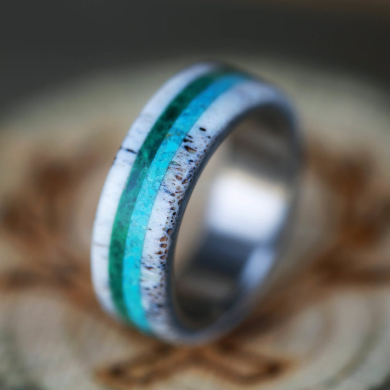 MALACHITE, ANTLER & TURQUOISE WEDDING BAND (available in titanium, silver, black zirconium) - Staghead Designs - Antler Rings By Staghead Designs