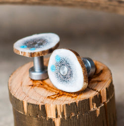 ELK ANTLER CUFFLINKS w/ TURQUOISE INLAYS (available w/ gold plated bases) - Staghead Designs - Antler Rings By Staghead Designs