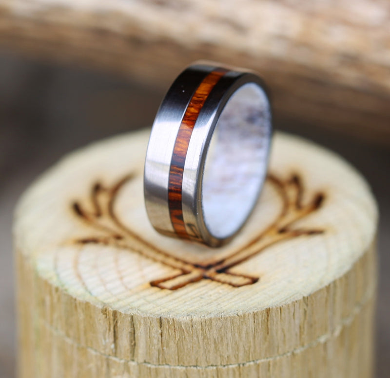 """VERTIGO"" IN ANTLER LINING WITH WOOD INLAY (available in titanium, silver, black zirconium, damascus steel & 14K white, rose or yellow gold) -  Custom Rings Handcrafted By Staghead Designs"