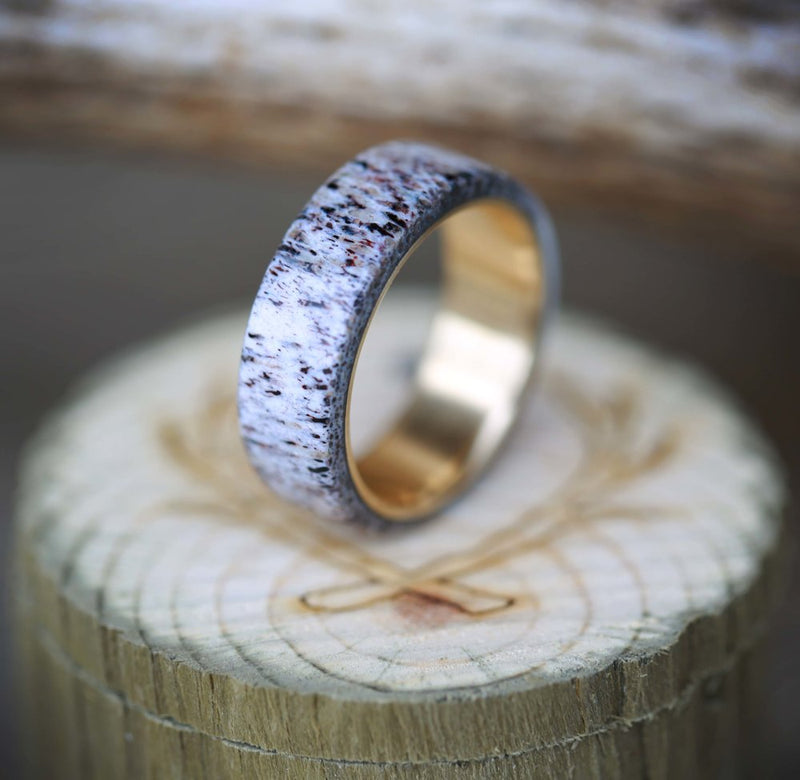 14K GOLD & ANTLER WEDDING BAND (available in 14K white, rose or yellow gold) -  Custom Rings Handcrafted By Staghead Designs