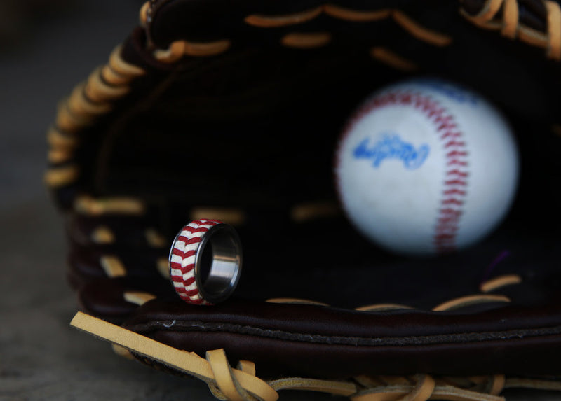 AUTHENTIC MAJOR LEAGUE BASEBALL WEDDING BAND (available in titanium, silver, black zirconium & 14K white, rose or yellow gold) - Staghead Designs - Antler Rings By Staghead Designs