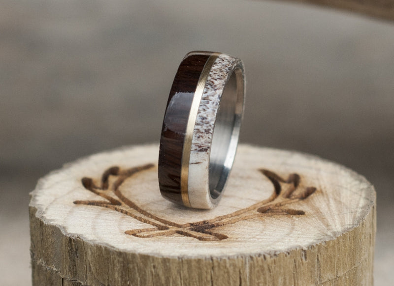 """GOLDEN"" IN IRONWOOD, ANTLER & A 14K GOLD INLAY WEDDING BAND (available in titanium, silver, black zirconium & 14K white, rose or yellow gold) -  Custom Rings Handcrafted By Staghead Designs"