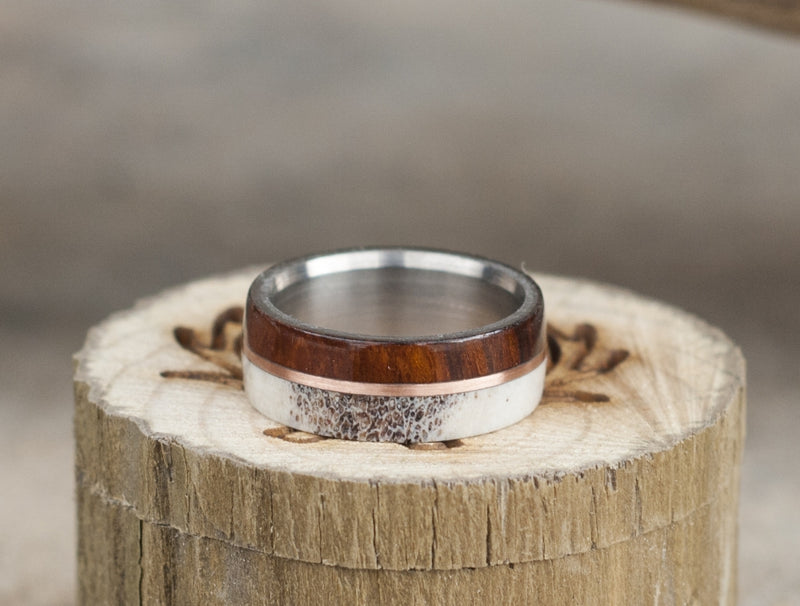 """GOLDEN"" IN IRONWOOD, ANTLER & A 14K GOLD INLAY WEDDING BAND (AVAILABLE IN TITANIUM, SILVER, BLACK ZIRCONIUM & 14K WHITE, ROSE OR YELLOW GOLD) - Staghead Designs - Antler Rings By Staghead Designs"
