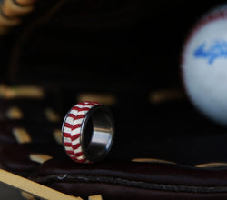 AUTHENTIC MAJOR LEAGUE BASEBALL WEDDING BAND (available in titanium, silver, black zirconium & 14K white, rose or yellow gold) -  Custom Rings Handcrafted By Staghead Designs