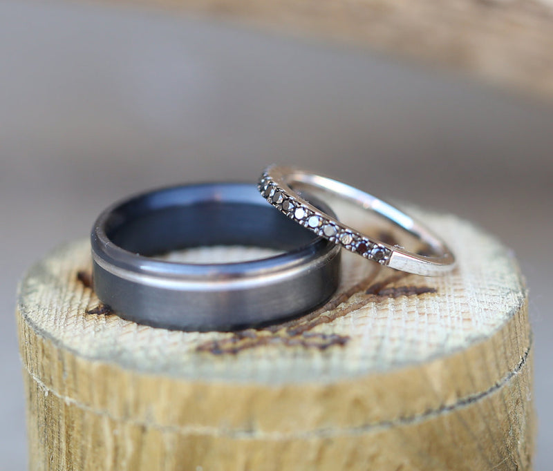1/5ctw BLACK DIAMOND & 14K GOLD STACKING WEDDING BAND (available in 14K white gold) - Staghead Designs - Antler Rings By Staghead Designs