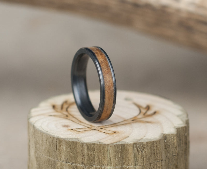 """RAINIER"" IN FIRE TREATED BLACK ZIRCONIUM & MAPLE (available in silver, black zirconium, damascus steel & 14K white, rose or yellow gold) - Staghead Designs - Antler Rings By Staghead Designs"