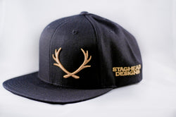Black and Gold Offset Staghead SnapBack - Staghead Designs - Antler Rings By Staghead Designs