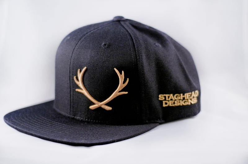 Black and Gold Offset Staghead SnapBack -  Custom Rings Handcrafted By Staghead Designs