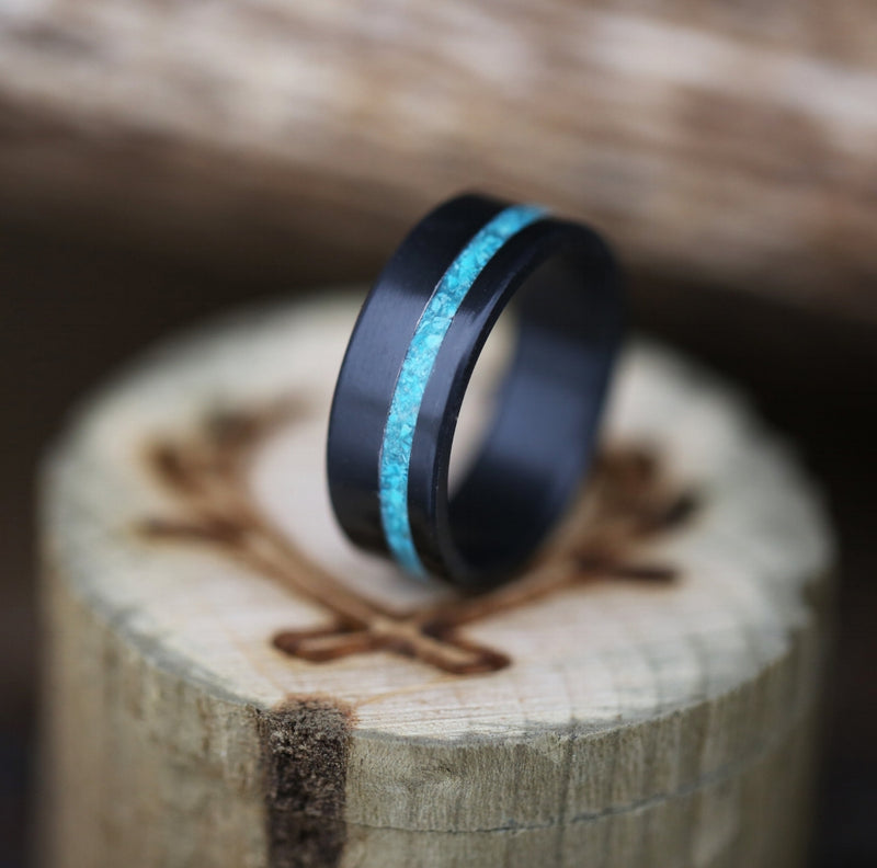 """VERTIGO"" - MATCHING SET OF TURQUOISE & BLACK ZIRCONIUM RINGS (available in silver, black zirconium, damascus steel & 14K white, rose or yellow gold) -  Custom Rings Handcrafted By Staghead Designs"