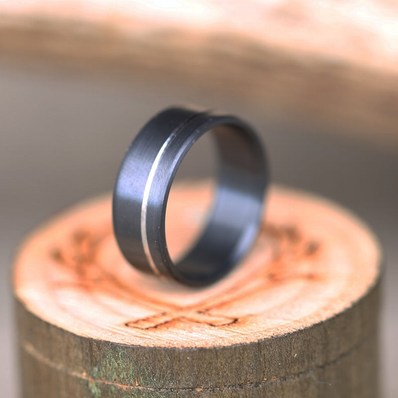 FIRE-TREATED BLACK ZIRCONIUM WEDDING BAND WITH OFFSET CUT ETCHING (available in silver, black zirconium, damascus steel & 14K white, yellow, or rose gold) -  Custom Rings Handcrafted By Staghead Designs