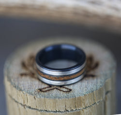 """RIO"" - BLACK WEDDING BAND FEATURING GOLD & WHISKEY BARREL INLAYS (available in silver, black zirconium, damascus steel & 14K white, rose or yellow gold) - Staghead Designs - Antler Rings By Staghead Designs"