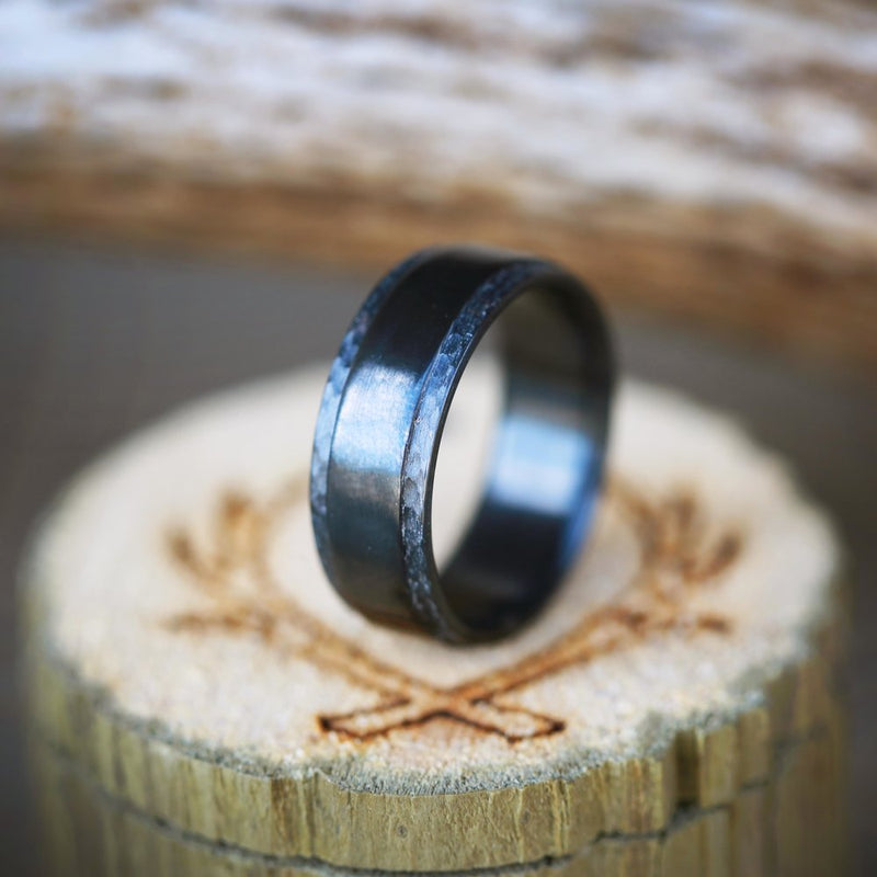 MATCHING SET OF COMPLIMENTARY HAMMERED BLACK ZIRCONIUM RINGS (available in silver, black zirconium, damascus steel & 14K white, rose or yellow gold) - Staghead Designs - Antler Rings By Staghead Designs