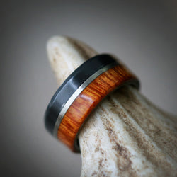 """TANNER"" WEDDING RING IN BLACK ZIRCONIUM, IRONWOOD & A 14K GOLD INLAY (available in black zirconium, silver, damascus steel & 14K white, yellow, or rose gold) - Staghead Designs - Antler Rings By Staghead Designs"