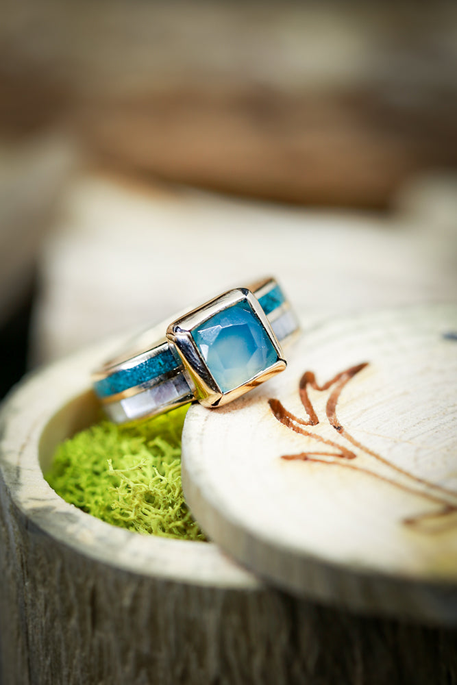 Mother Of Pearl And Turquoise Chalcedony Womens Engagement Ring - Staghead Designs