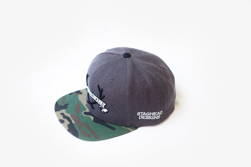 "STAGHEAD ""WEAR & BE WILD"" SNAPBACK CAMO - Staghead Designs - Antler Rings By Staghead Designs"