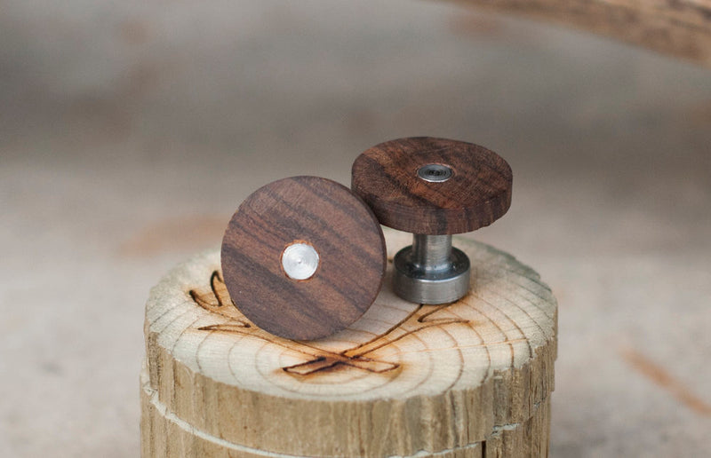 WOOD TOPPED CUFFLINKS W/ CAST IRON BASES (available w/ a 24k gold plated base) -  Custom Rings Handcrafted By Staghead Designs