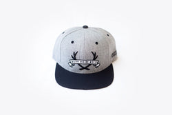 "STAGHEAD GREY & BLACK ""WEAR AND BE WILD"" SNAPBACK - Staghead Designs - Antler Rings By Staghead Designs"