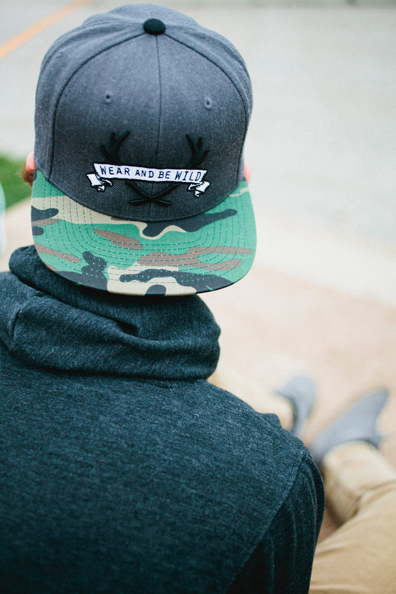 "STAGHEAD ""WEAR & BE WILD"" SNAPBACK CAMO -  Custom Rings Handcrafted By Staghead Designs"