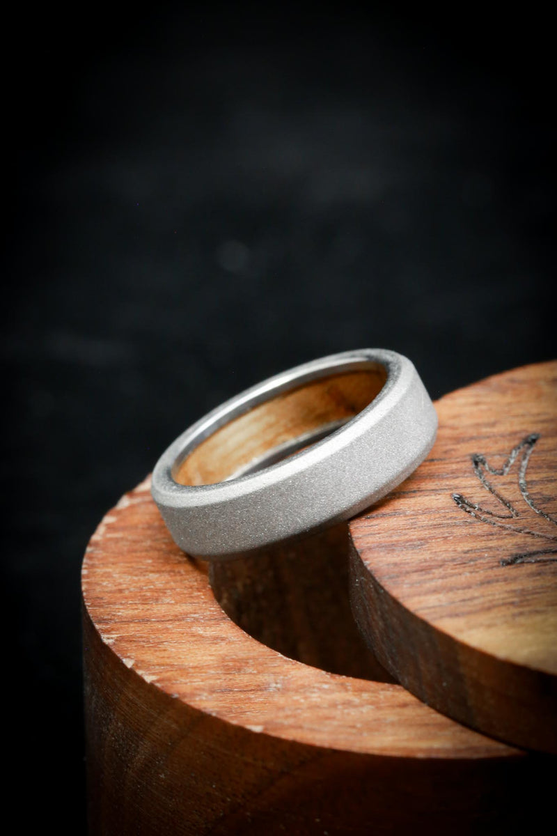 Whiskey Barrel Lined Wedding Ring with Sandblasted Finish - Staghead Designs