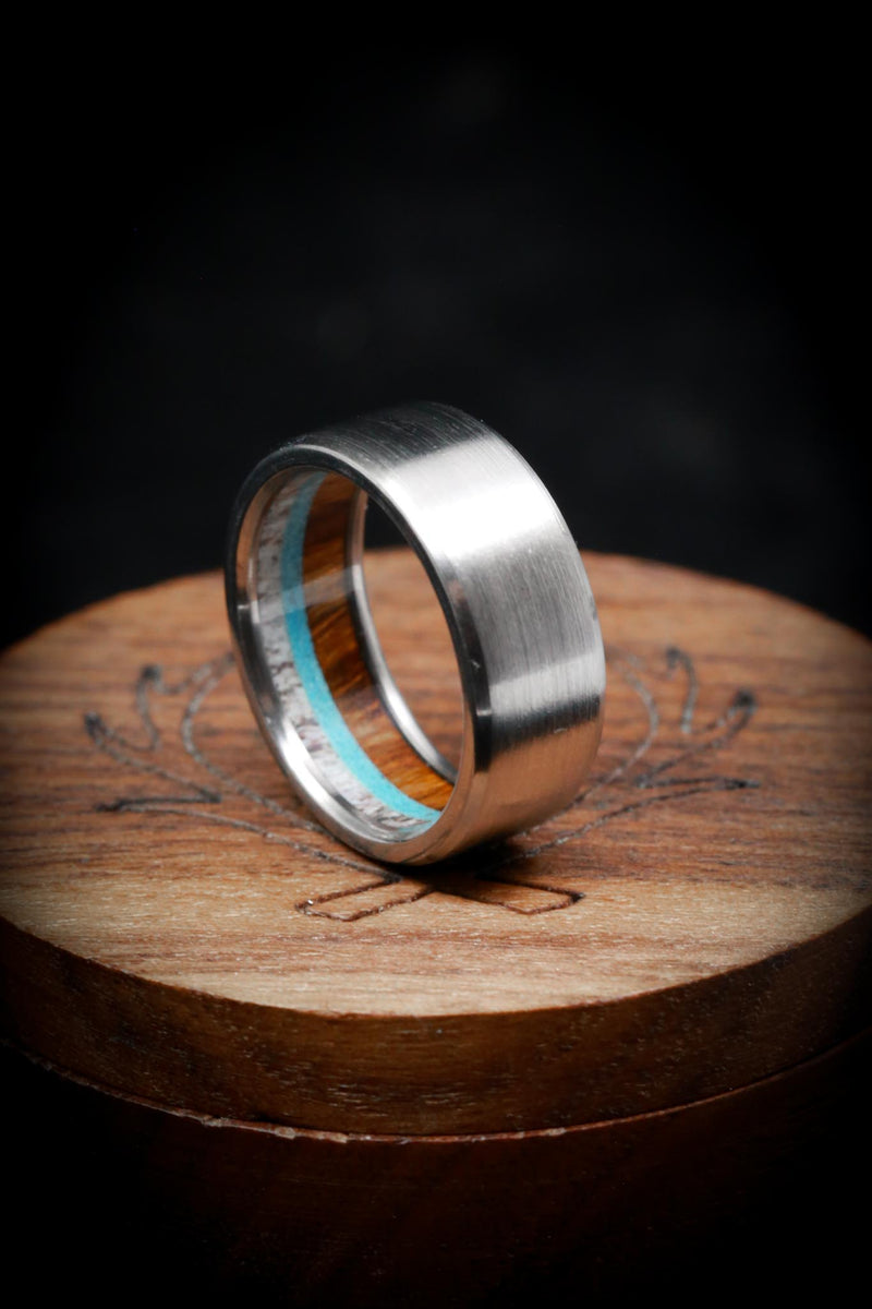 """BANNER"" LINED RING IN TITANIUM WITH BRUSHED FINISH - ANTLER, WOOD & TURQUOISE (fully customizable)"