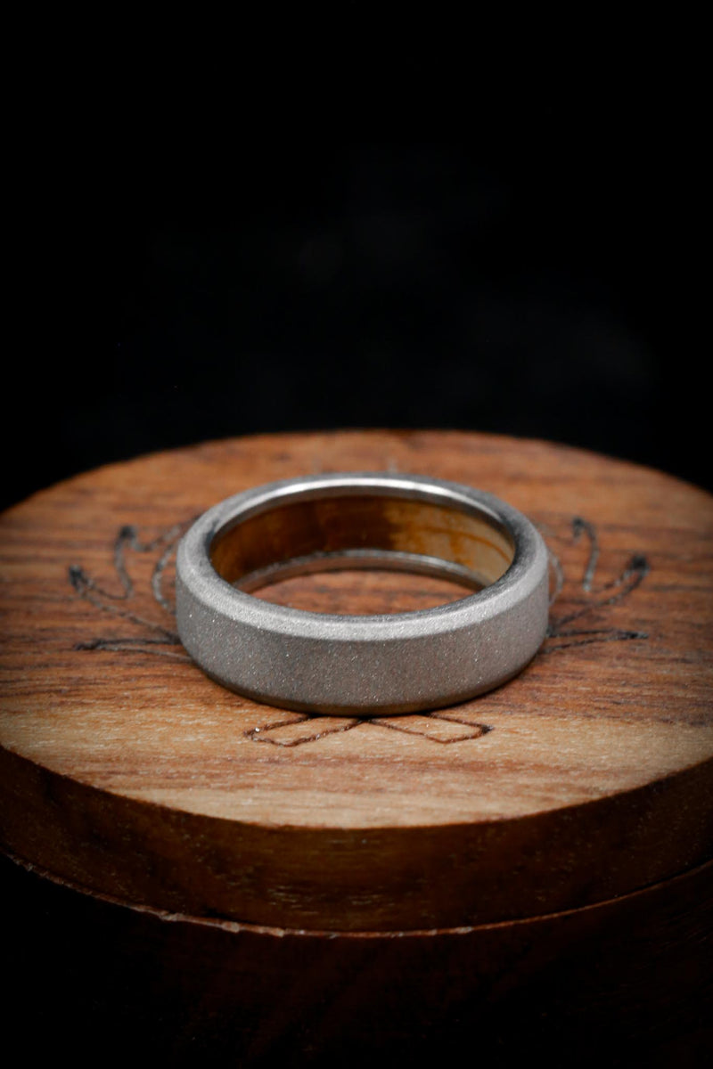 WHISKEY BARREL CHANNEL LINED RING WITH SANDBLASTED FINISH (fully customizable)