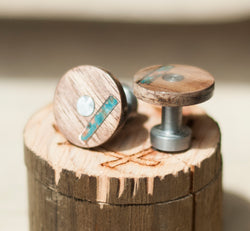 WOOD TOPPED CUFFLINKS W/ COPPER INLAYS (available w/ a 24k gold plated base) - Staghead Designs - Antler Rings By Staghead Designs