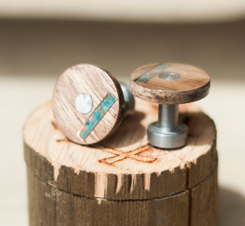 WOOD TOPPED CUFFLINKS W/ COPPER INLAYS (available w/ a 24k gold plated base) -  Custom Rings Handcrafted By Staghead Designs