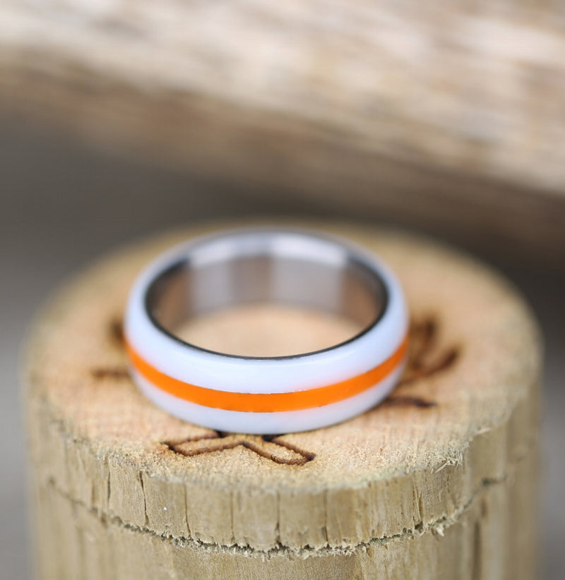 ORANGE & WHITE ACRYLIC WEDDING BAND (available in titanium, silver, black zirconium & 14K white, rose or yellow gold) - Staghead Designs - Antler Rings By Staghead Designs