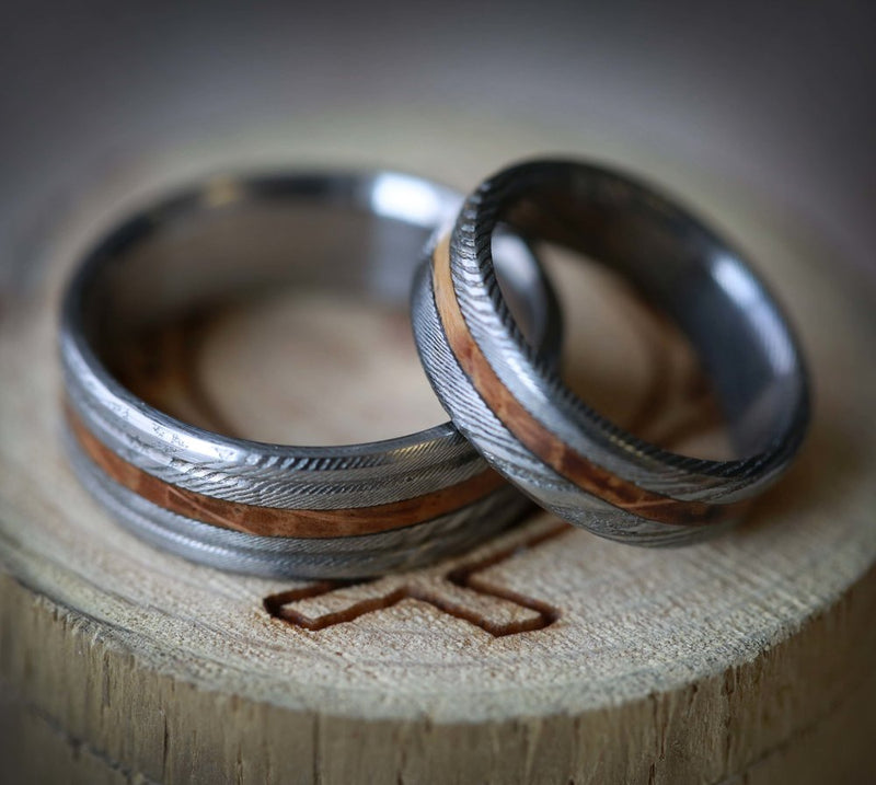 MATCHING SET OF ETCHED DAMASCUS STEEL WEDDING BANDS WITH WHISKEY BARREL INLAY (available in silver, black zirconium, damascus steel & 14K white, rose, or yellow gold) -  Custom Rings Handcrafted By Staghead Designs