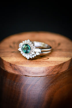 ART DECO RING WITH BLUE-GREEN SAPPHIRE ON 14K GOLD WITH CONTOURED WEDDING BAND (available in 14K rose, white, or yellow gold) -  Custom Rings Handcrafted By Staghead Designs