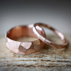 MATCHING SET OF FACETED WEDDING RINGS IN 14K GOLD WITH A RAW FINISH (available in 14K white, rose or yellow gold) -  Custom Rings Handcrafted By Staghead Designs