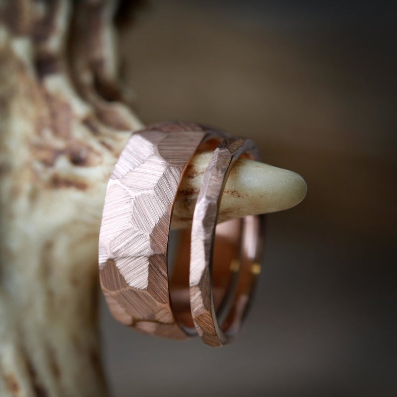 MATCHING SET OF FACETED WEDDING RINGS IN 14K GOLD WITH A RAW FINISH (available in 14K white, rose or yellow gold) - Staghead Designs - Antler Rings By Staghead Designs