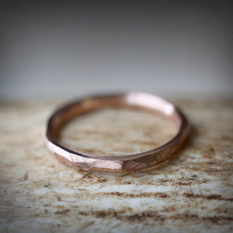FACETED 14K GOLD STACKING RING FOR WOMEN WITH A RAW FINISH (available in 14K white, rose, or yellow gold) -  Custom Rings Handcrafted By Staghead Designs
