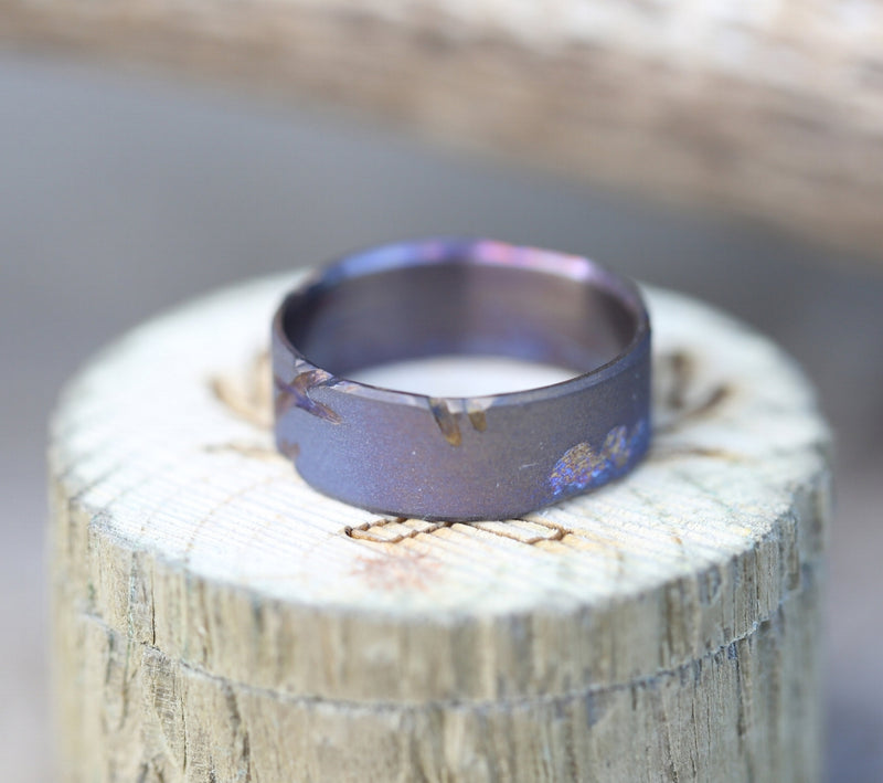 FIRE-TREATED TITANIUM WITH DISTRESSED MARKS AND A SANDBLASTED FINISH - Staghead Designs - Antler Rings By Staghead Designs