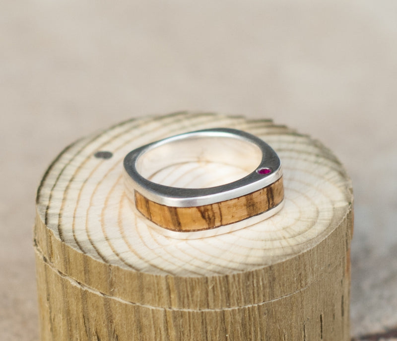 CUSTOM CAST SILVER WEDDING BAND FEATURING SPALTED MAPLE AND RUBIES (available in silver or 14K white, yellow, or rose gold) -  Custom Rings Handcrafted By Staghead Designs