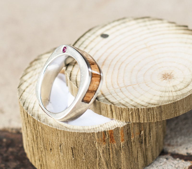 CUSTOM CAST SILVER WEDDING BAND FEATURING SPALTED MAPLE AND RUBIES (available in silver or 14K white, yellow, or rose gold) - Staghead Designs - Antler Rings By Staghead Designs